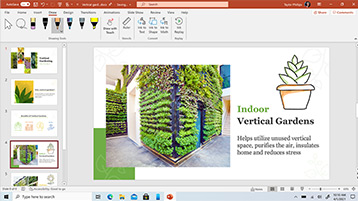 PowerPoint template displayed on screen