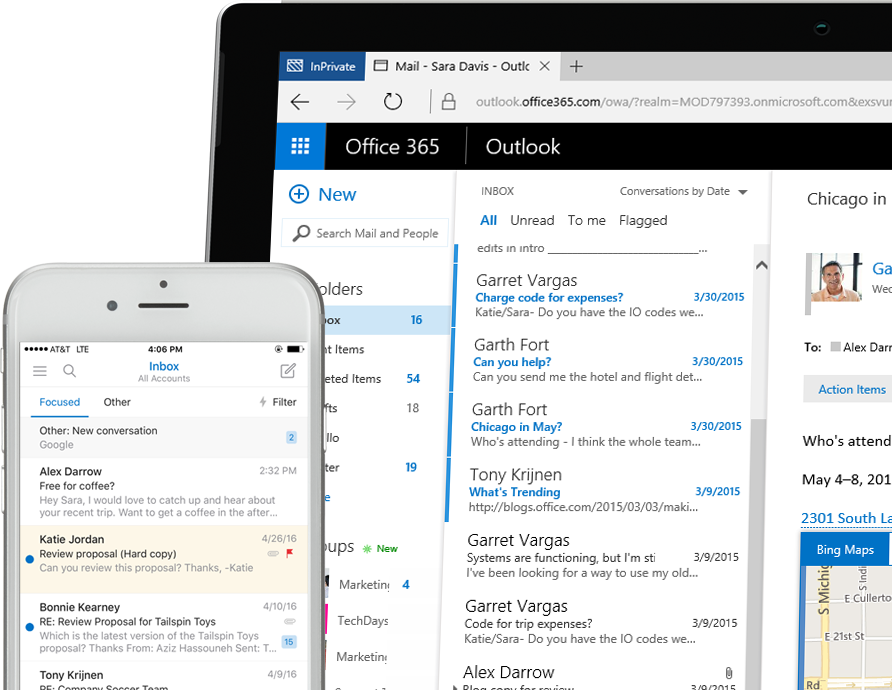Exchange 2016 on a smart phone and a Windows tablet PC