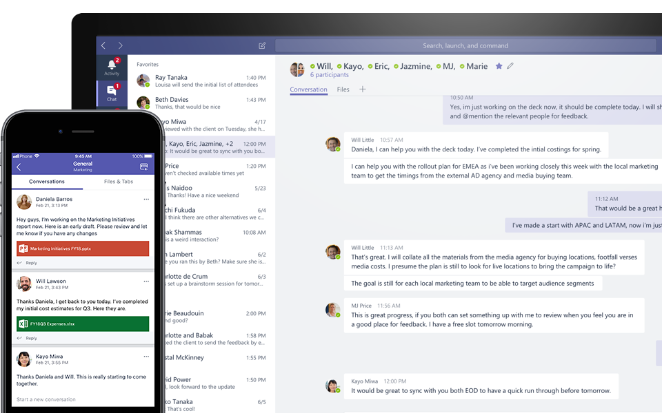 Teams conversation on a mobile and desktop device