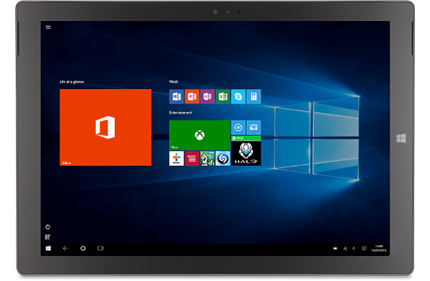 Perfect with Windows 10: A tablet showing the Office, Office application, and other tiles on a Windows 10 Start screen.