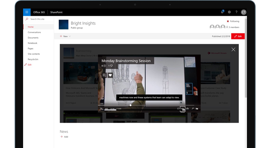 Device with SharePoint running in Office 365 and a training video playing