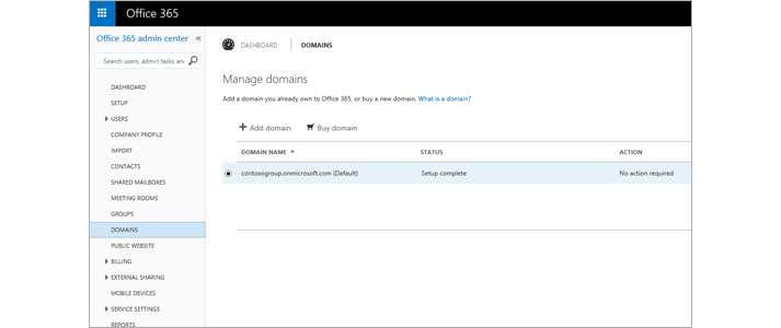The Office 365 admin center page where you manage Exchange Online Protection.