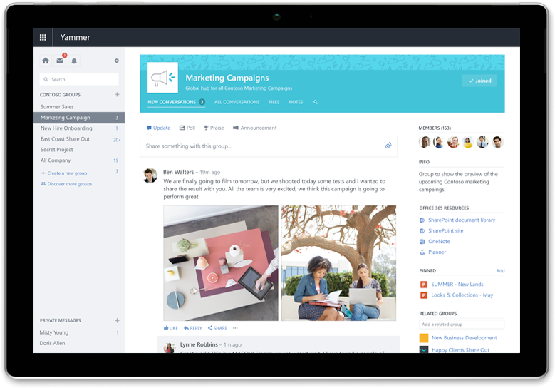 A Surface tablet displays a Yammer conversation needs updated screenshots with newest UI (can be same conversations)