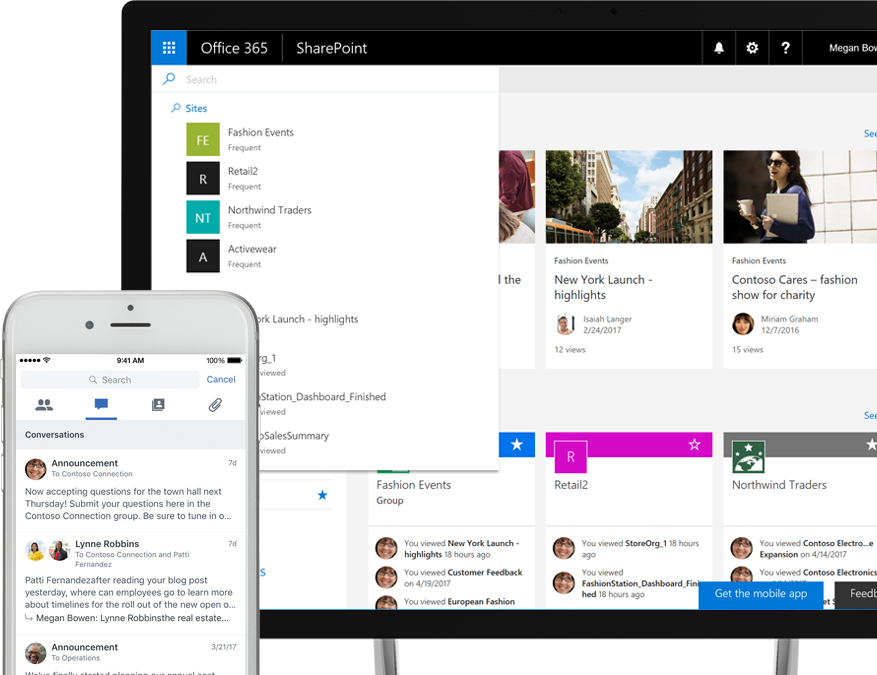 A smart phone showing a Yammer conversations surfaced by the Graph