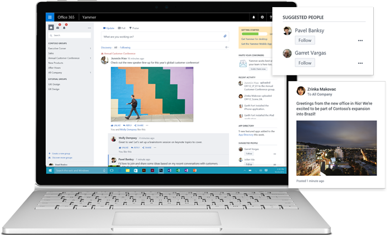 A laptop showing the Discovery feed in Yammer, with suggested people, groups, and other information