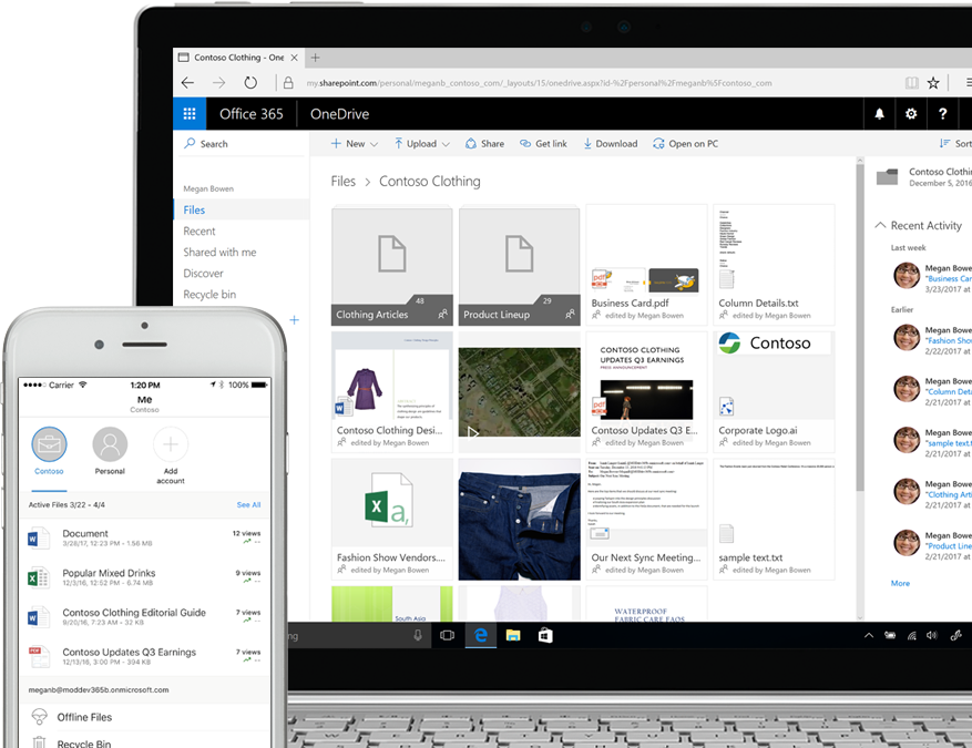 files displayed in SharePoint on a smartphone and a laptop computer
