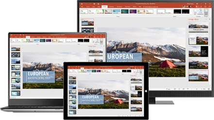 A desktop monitor, laptop, and tablet showing a presentation about European backpacking trips, learn about portable productivity with Office desktop and mobile apps