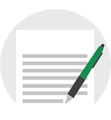 Icon of a document with a pen lying across it, encased in a circle.
