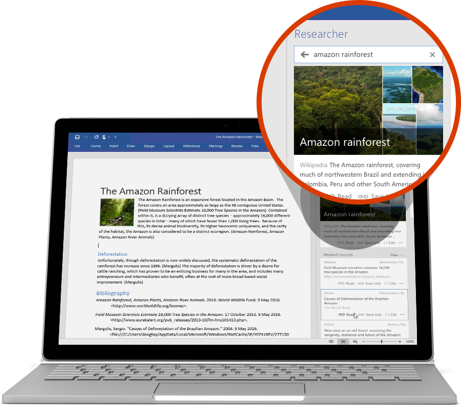 Laptop featuring Researcher being used in a Word document, learn more about Word features