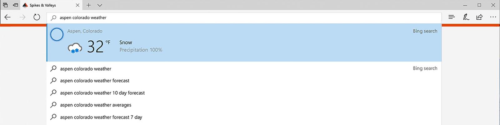 Microsoft Edge instant answers