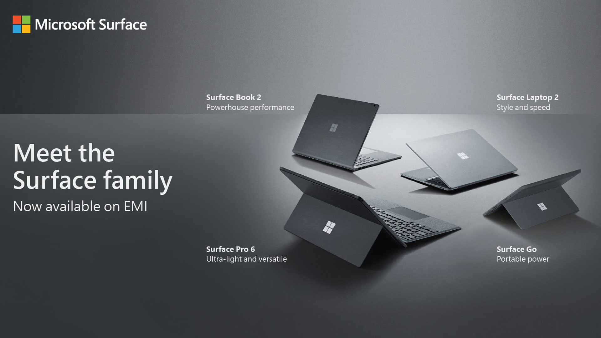 Meet the Surface family - Surface Book 2, Surface Laptop 2, Surface Pro 6, and Surface Go