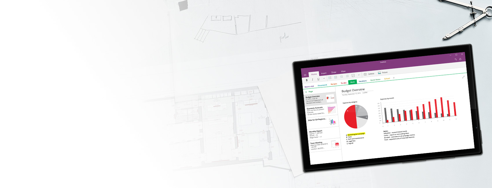 Windows tablet displaying a OneNote notebook with budget overview charts and graphs