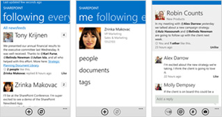 Three screenshots of a SharePoint Online newsfeed on different mobile devices.