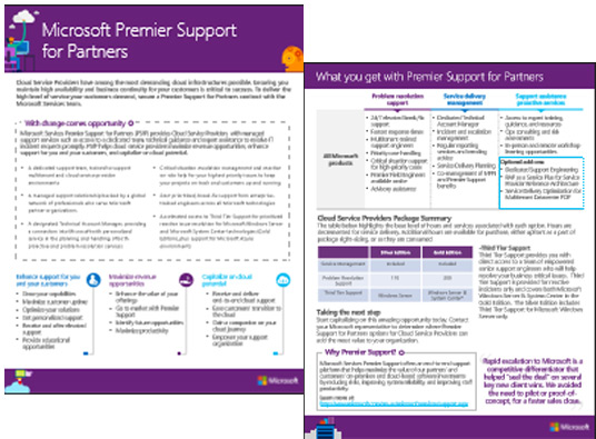 Premier Support for Partners options for Cloud Service Providers Datasheet