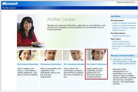 Profile Center screenshot