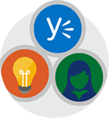 A circled Yammer, light bulb, and person icon, all encased in a larger circle.