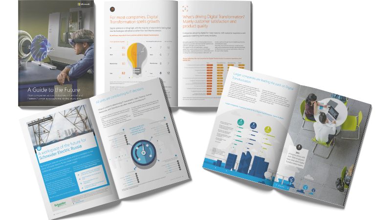Open pages from a Digital Transformation report
