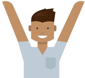 Image of a man with his arms pointing up to the section detailing all the services and benefits that your Microsoft account unlocks