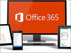 A monitor with the office 365 logo