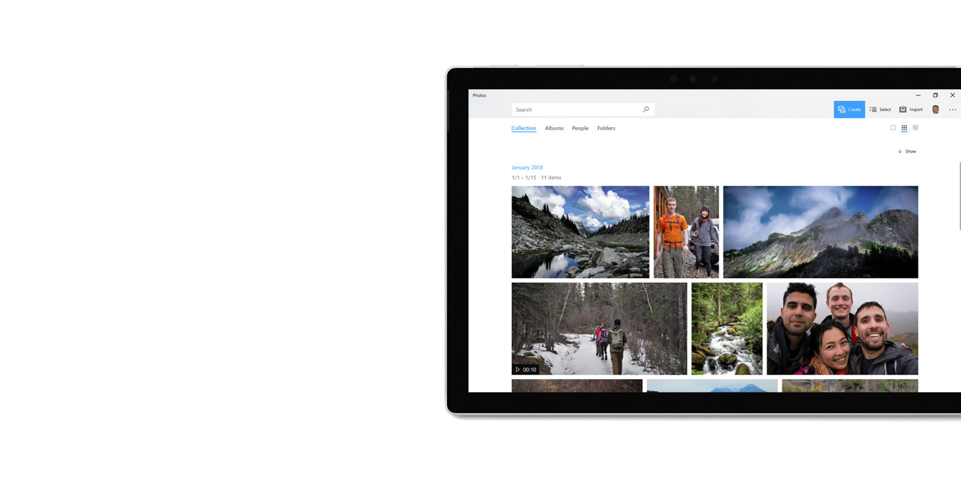 Tablet device with Photos app displayed.