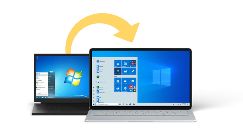 An old Windows 7 laptop with an arrow to a new Windows 10 desktop PC