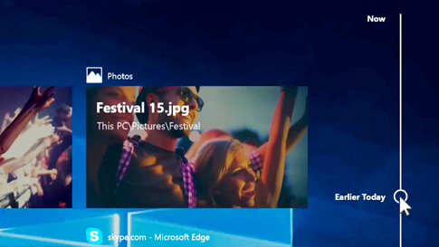 The new timeline screen in Windows 10 showing a timeline of past apps and activities