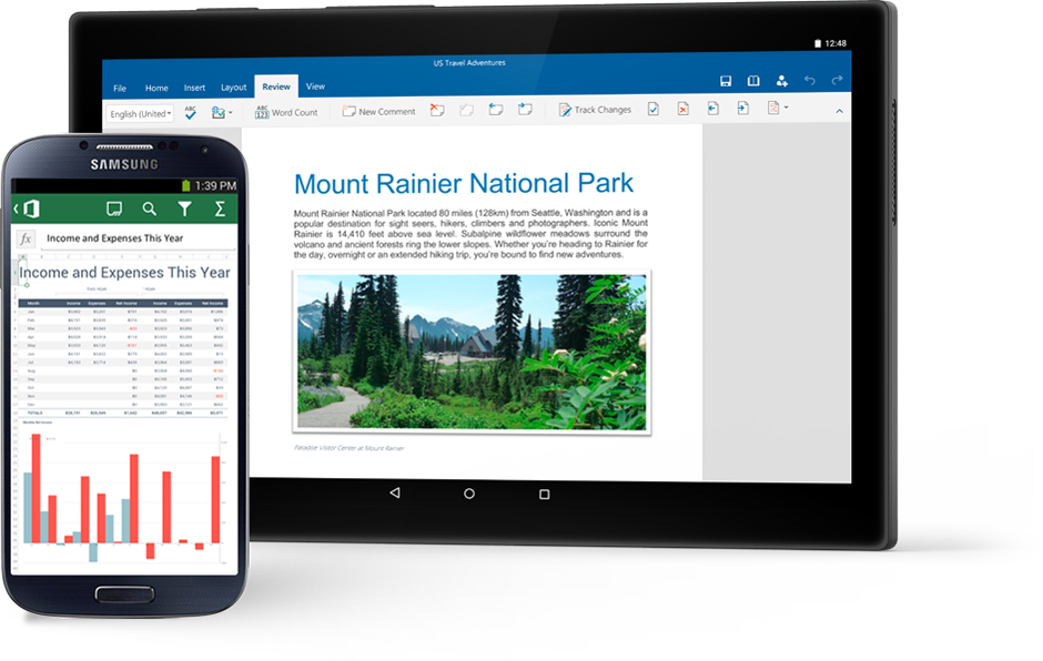 A phone displaying an Excel chart and a tablet                                             showing a Word document about Mount Rainier National Park