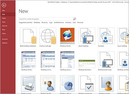 A screenshot of a database app template.