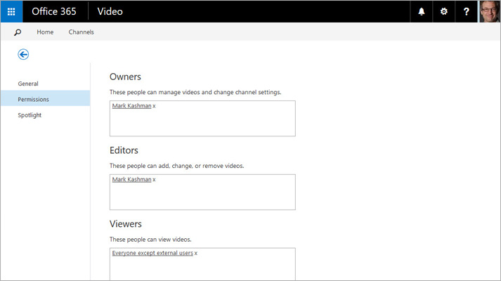 A screenshot of the Manage Video Portal page in Office 365 Video.