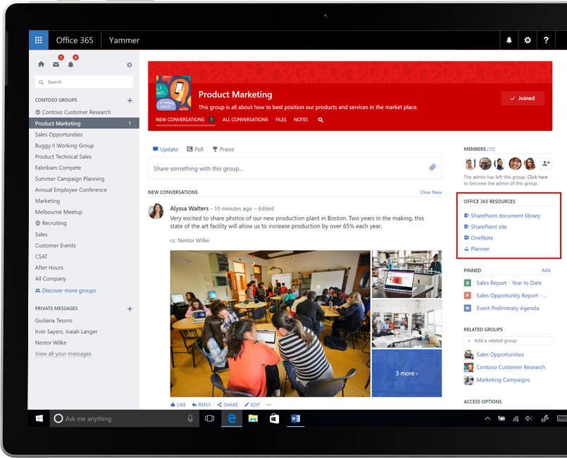 Yammer on a laptop with Office 365 groups integration