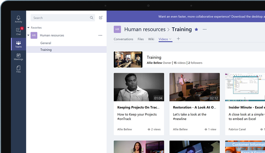 Device with Teams group called Human Resources, with a menu of training videos