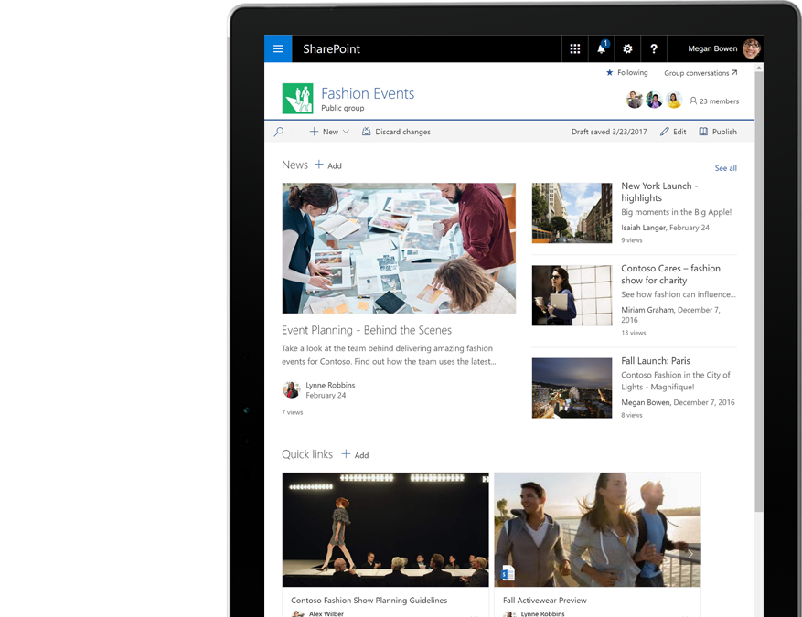 A tablet PC showing SharePoint news and activities