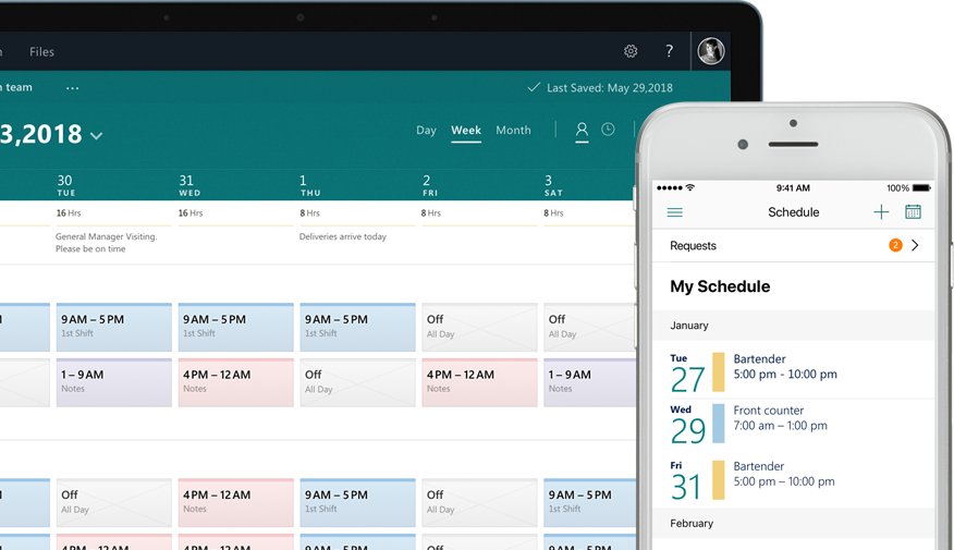 a desktop showing a schedule and a mobile phone showing the task screen with tasks assigned and completed