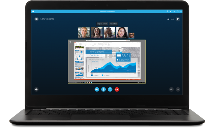 Laptop showing a meeting on Skype with caller pictures and presentation