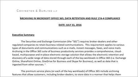 White paper about archiving in Office 365, download the Word file