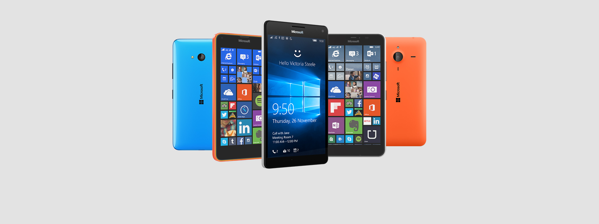 Backs and fronts of five Lumia phones