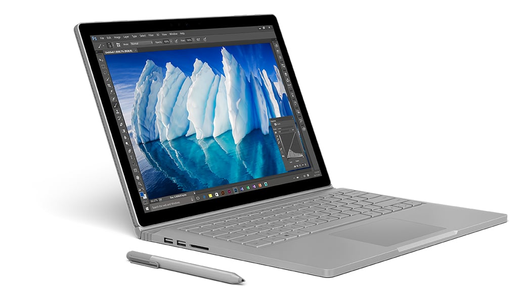 The new Surface book with performance base sitting open with Surface pen
