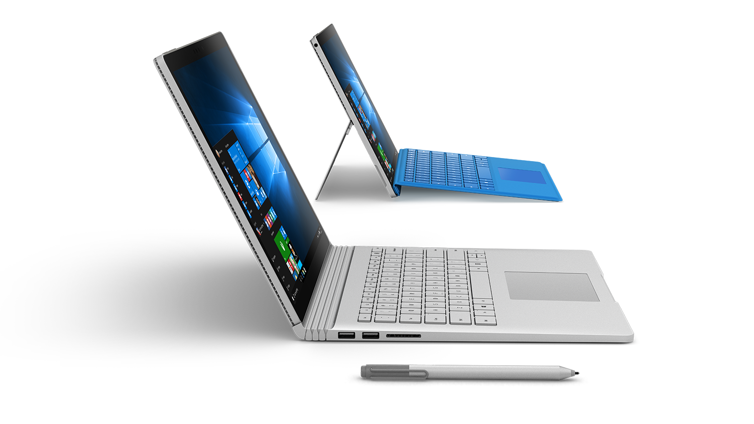 Three surface devices together in formation