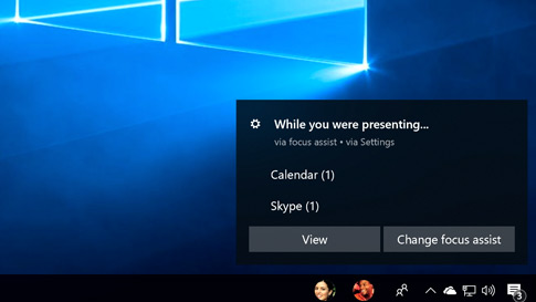 The new Focus Assist window showing settings for the feature and an option to view recent activity while you were focusing