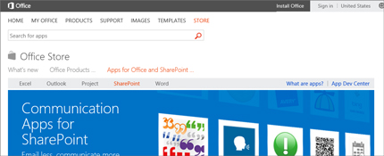 Screenshot of the SharePoint apps page in Office Store.