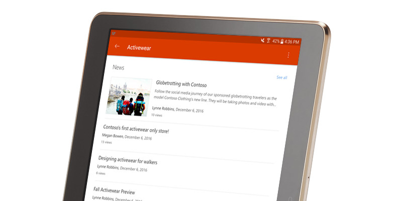 a SharePoint group conversation on a tablet PC