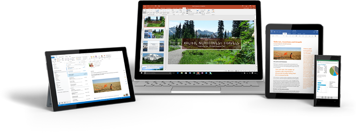 A smartphone, a desktop monitor, and two tablet computers featuring Office 365 apps