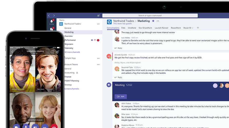 Microsoft Teams call shown on mobile phone and tablet