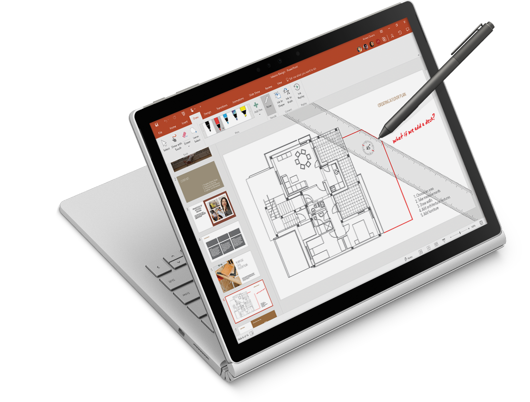 ruler and digital ink on an architectural drawing on a Surface tablet