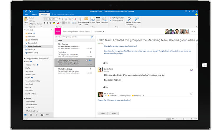 Tablet screen displaying a group conversation in Outlook