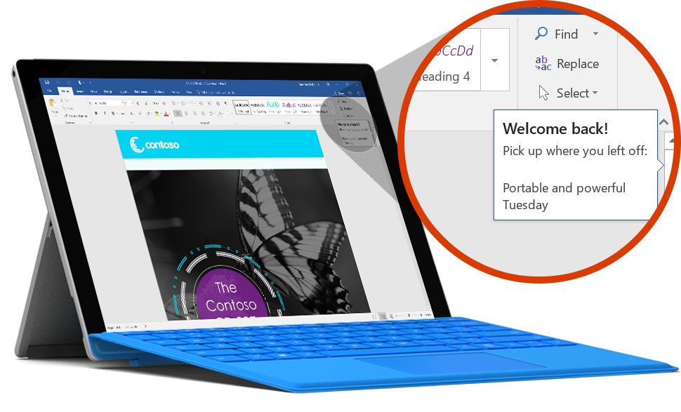 Surface tablet displaying a document showing the last location in Word, learn about OneDrive cloud storage