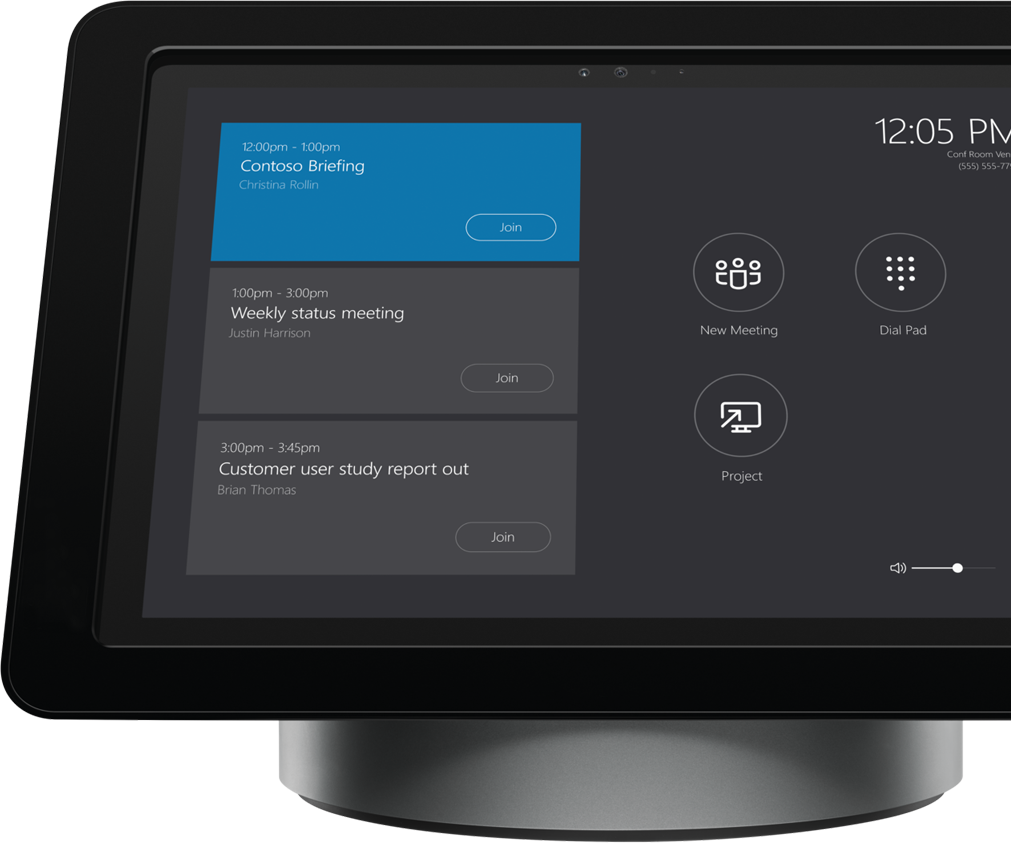 Skype Room Systems screen on meeting room dock