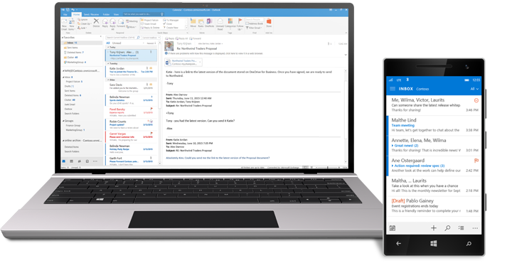 A tablet and a smartphone showing an Office 365 email inbox.