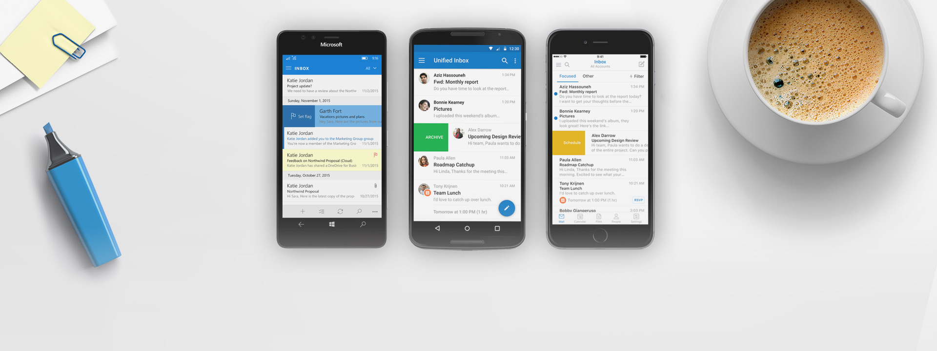 Windows Phone, iPhone and Android phone with Outlook app on the screens
