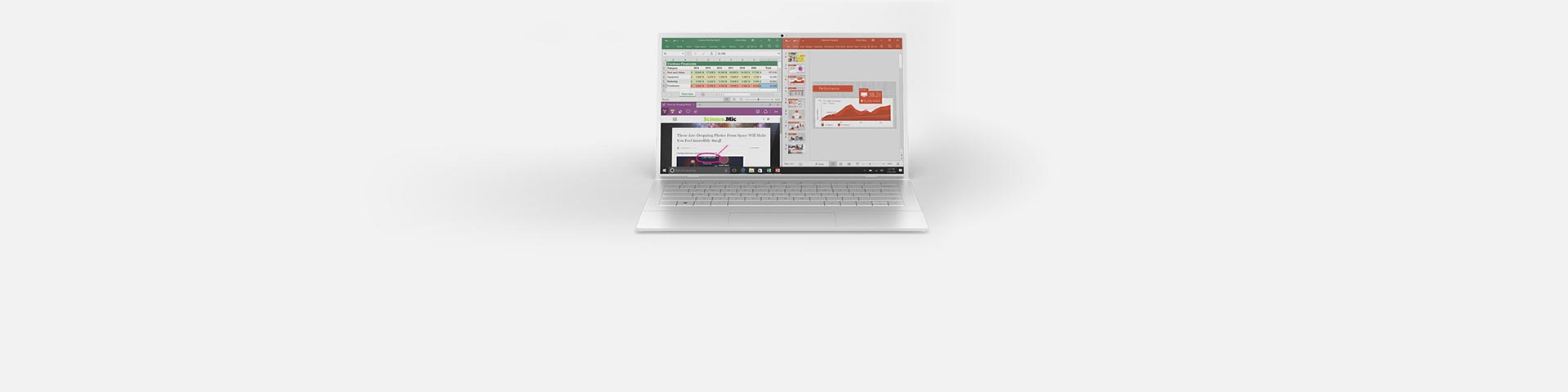 A laptop with Office apps on the screen